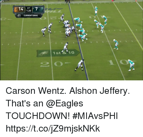 Driving, Philadelphia Eagles, and Memes: 1ST  1:20  :21 CURRENT DRIVE  1st &10 Carson Wentz. Alshon Jeffery.  That's an @Eagles TOUCHDOWN! #MIAvsPHI https://t.co/jZ9mjskNKk