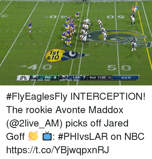 Memes, Jared, and Maddox: 1st  &10  4/O  so  e7 PHI 6  /  , 1-2 LAR 7/ 2nd 11:20 :09/  1st &10  ー #FlyEaglesFly INTERCEPTION!  The rookie Avonte Maddox (@2live_AM) picks off Jared Goff 👏  📺: #PHIvsLAR on NBC https://t.co/YBjwqpxnRJ