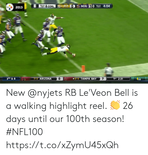 tampa: 1ST &GOAL  MIN 10 1ST 4:04  PIT O  2013  3RD & 8  7  (1-2) ARIZONA  1ST 2:31  (0-3) TAMPA BAY  50 New @nyjets RB Le'Veon Bell is a walking highlight reel. 👏  26 days until our 100th season! #NFL100 https://t.co/xZymU45xQh