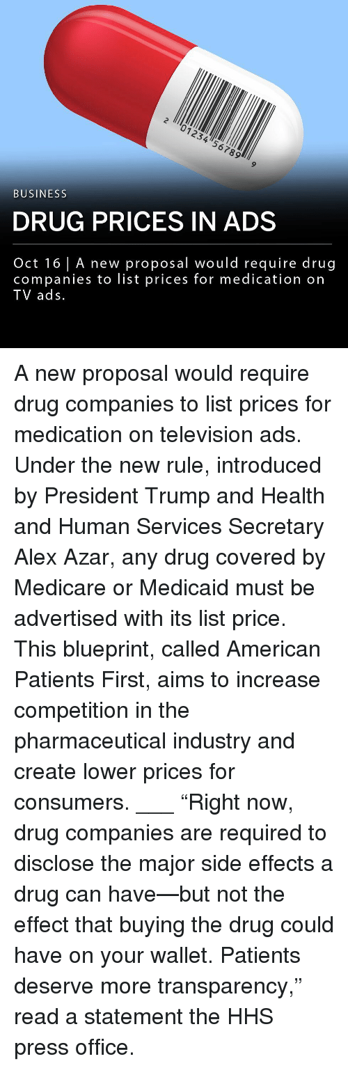"""Medicare: 2 01234 567899  BUSINESS  DRUG PRICES IN ADS  Oct 16 A new proposal would require drug  companies to list prices for medication orn  TV ads A new proposal would require drug companies to list prices for medication on television ads. Under the new rule, introduced by President Trump and Health and Human Services Secretary Alex Azar, any drug covered by Medicare or Medicaid must be advertised with its list price. This blueprint, called American Patients First, aims to increase competition in the pharmaceutical industry and create lower prices for consumers. ___ """"Right now, drug companies are required to disclose the major side effects a drug can have—but not the effect that buying the drug could have on your wallet. Patients deserve more transparency,"""" read a statement the HHS press office."""