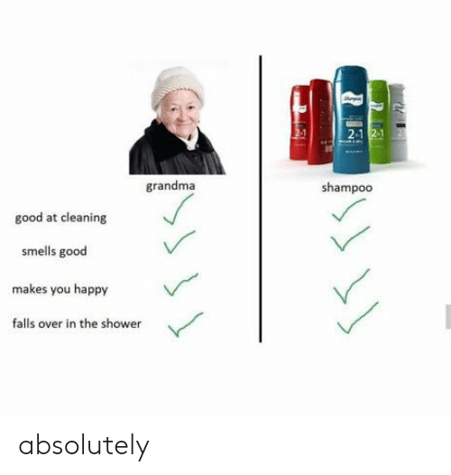 Falls: 2-1  grandma  shampoo  good at cleaning  smells good  makes you happy  falls over in the shower absolutely