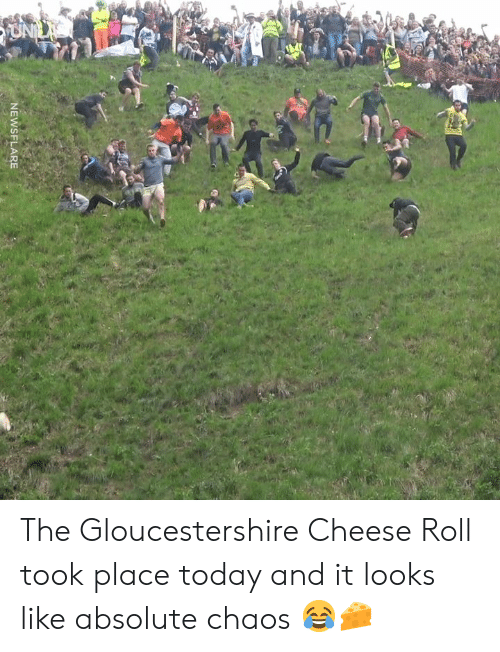 Dank, Today, and 🤖: 2  NEWSFLARE The Gloucestershire Cheese Roll took place today and it looks like absolute chaos 😂🧀