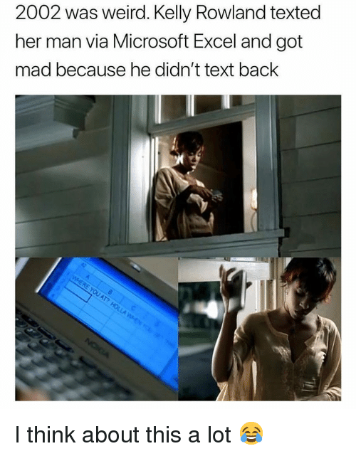 Memes, Microsoft, and Microsoft Excel: 2002 was weird. Kelly Rowland texted  her man via Microsoft Excel and got  mad because he didn't text back I think about this a lot 😂