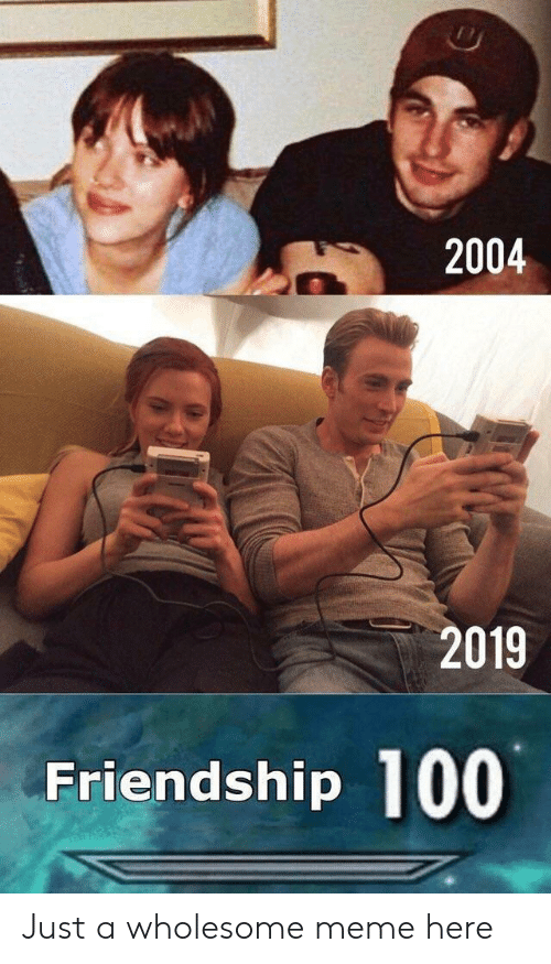 Meme, Wholesome, and Friendship: 2004  2019  Friendship 100 Just a wholesome meme here