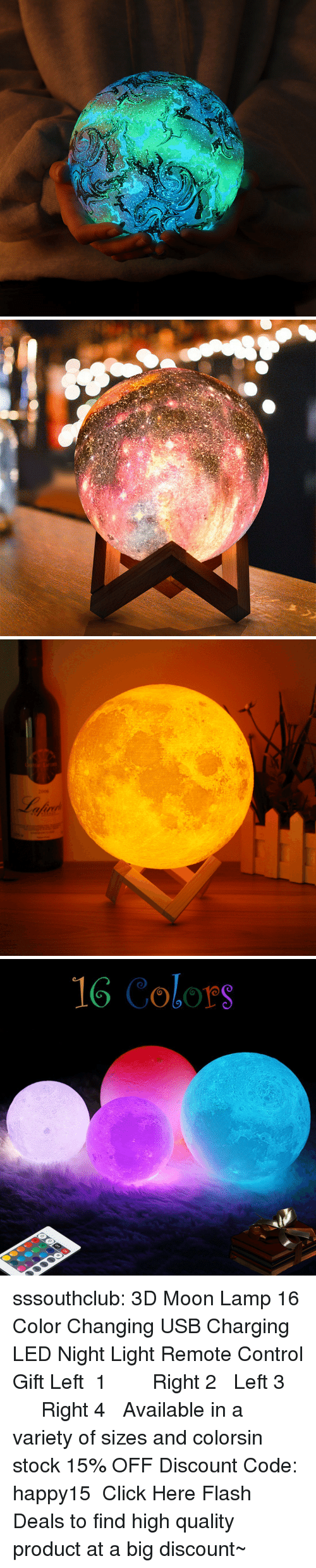 Click, Tumblr, and Control: 2006  fuv   16 Colors sssouthclub: 3D Moon Lamp 16 Color Changing USB Charging LED Night Light Remote Control Gift  Left 1  ☆★  Right 2   Left 3  ☆★  Right 4  Available in a variety of sizes and colors,in stock 15% OFF Discount Code: happy15 ★ Click Here Flash Deals to find high quality product at a big discount~