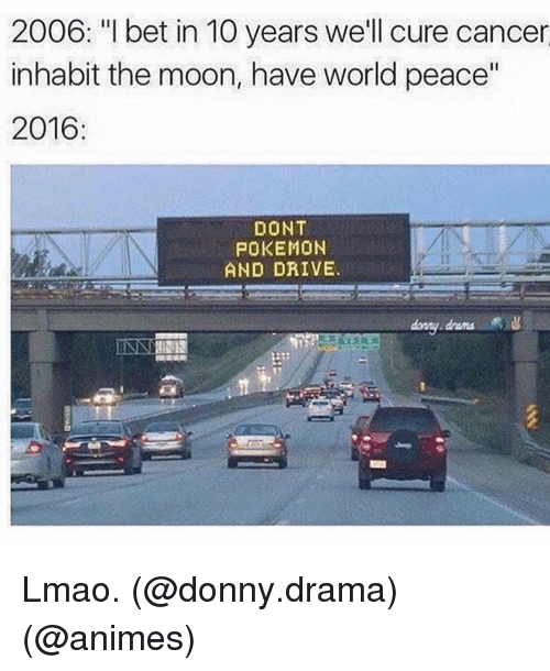 "Dont Pokemon And Drive: 2006: ""I bet in 10 years we'll cure cancer  inhabit the moon, have world peace""  2016  DONT  POKEMON  AND DRIVE. Lmao. (@donny.drama) (@animes)"