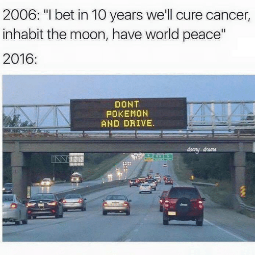 "Dont Pokemon And Drive: 2006: ""I bet in 10 years we'll cure cancer,  inhabit the moon, have world peace""  2016:  DONT  POKEMON  AND DRIVE.  danny drama"