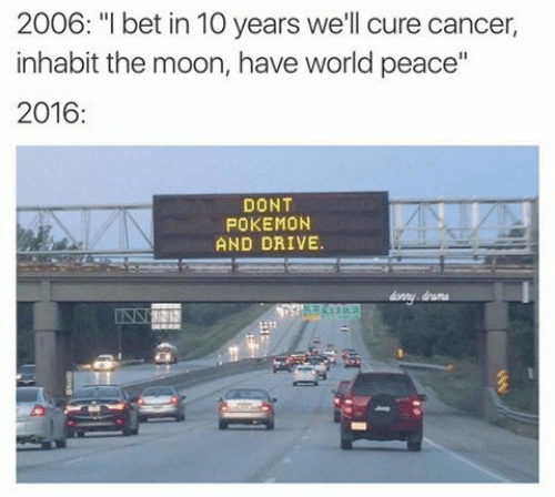 "Dont Pokemon And Drive: 2006: ""I bet in 10 years we'll cure cancer  inhabit the moon, have world peace""  2016:  DONT  POKEMON  AND DRIVE.  drama"