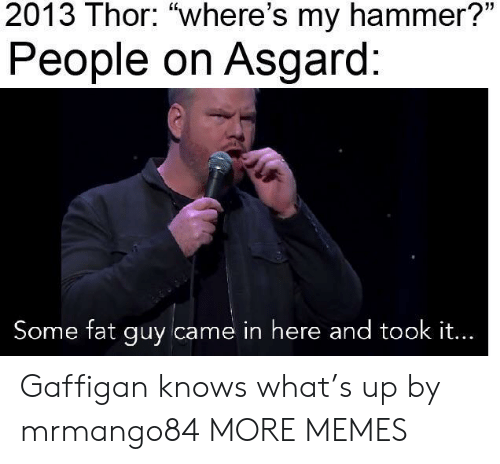 """Dank, Memes, and Target: 2013 Thor: """"where's my hammer?""""  People on Asgard:  Some fat guy came in here and took it... Gaffigan knows what's up by mrmango84 MORE MEMES"""