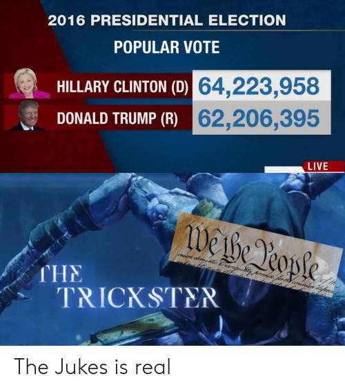 Donald Trump, Hillary Clinton, and Presidential Election: 2016 PRESIDENTIAL ELECTION  POPULAR VOTE  HILLARY CLINTON (D) 64,223,958  DONALD TRUMP (R) 62,206,395  LIVE  naure dometic ranguty pride for th commen  THE  dlefema  TRICKSTER The Jukes is real