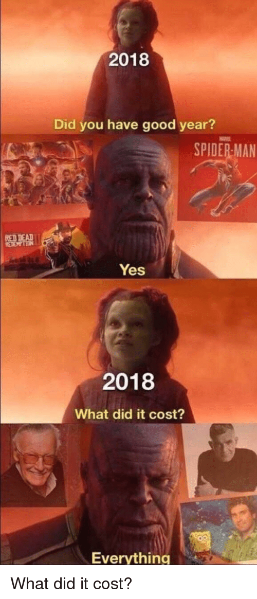 Spider, SpiderMan, and Good: 2018  Did you have good year?  SPIDER MAN  RED DEAD  Yes  2018  What did it cost?  Everything What did it cost?