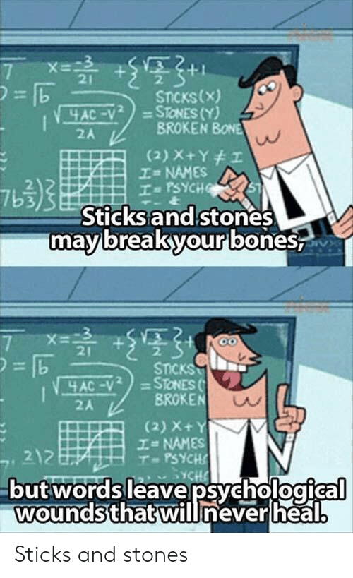 Psych, Sticks, and Bone: 21  STICKs(x)  2A  BROKEN BONE  NAMES  2  7b3  Sticks and stones  mavbreakyourlbones  21  2  2A  BROKEN  (2) X+  エ= NAMES  T-PSYCH  2  butwordsleavepsychological  woundsthatwillneverlheal Sticks and stones
