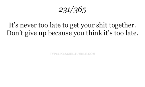 Shit, Tumblr, and Never: 231/365  It's never too late to get your shit together  Don't give up because you think it's too late.  TYPELIKEAGIRL.TUMBLR.COM