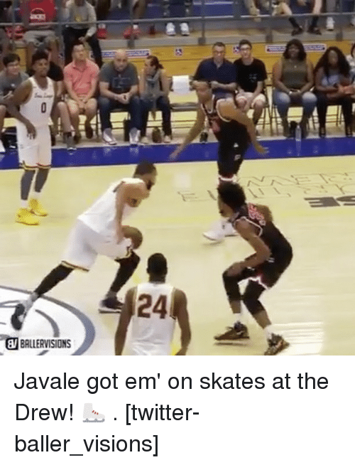 Drewing: 24  BALLERVISIONS Javale got em' on skates at the Drew! ⛸ . [twitter-baller_visions]