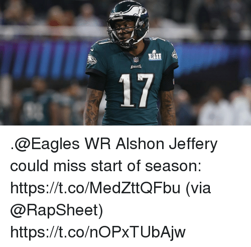 Philadelphia Eagles, Memes, and Alshon Jeffery: 24  IE  17 .@Eagles WR Alshon Jeffery could miss start of season: https://t.co/MedZttQFbu (via @RapSheet) https://t.co/nOPxTUbAjw