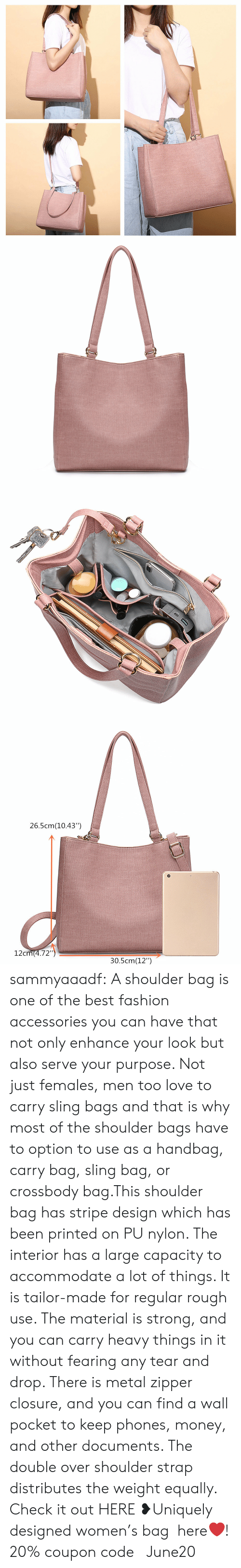 """Fashion, Love, and Money: 26.5cm(10.43"""")  12cm(4.72"""")  30.5cm(12"""") sammyaaadf: A shoulder bag is one of the best fashion accessories you can have that not only enhance your look but also serve your purpose. Not just females, men too love to carry sling bags and that is why most of the shoulder bags have to option to use as a handbag, carry bag, sling bag, or crossbody bag.This shoulder bag has stripe design which has been printed on PU nylon. The interior has a large capacity to accommodate a lot of things. It is tailor-made for regular rough use. The material is strong, and you can carry heavy things in it without fearing any tear and drop. There is metal zipper closure, and you can find a wall pocket to keep phones, money, and other documents. The double over shoulder strap distributes the weight equally.  Check it out HERE ❥Uniquely designed women's bag here❤! 20% coupon code: June20"""