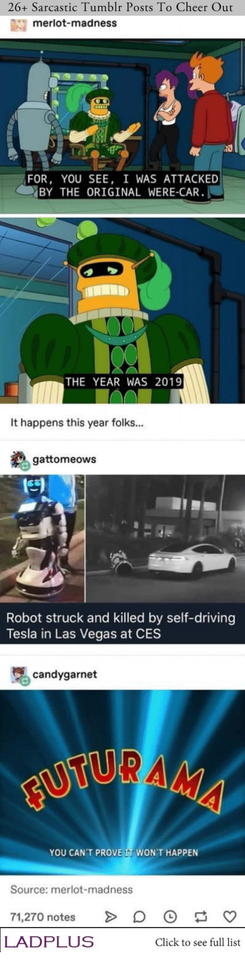 sarcastic: 26+ Sarcastic Tumblr Posts To Cheer Out  merlot-madness  FOR, YOU SEE, I WAS ATTACKED  BY THE ORIGINAL WERE-CAR  THE YEAR WAS 2019  It happens this year folks...  gattomeows  Robot struck and killed by self-driving  Tesla in Las Vegas at CES  candygarnet  FUTURAMA  YOU CAN'T PROVE IT WON'T HAPPEN  Source: merlot-madness  71,270 notes  LADPLUS  Click to see full list