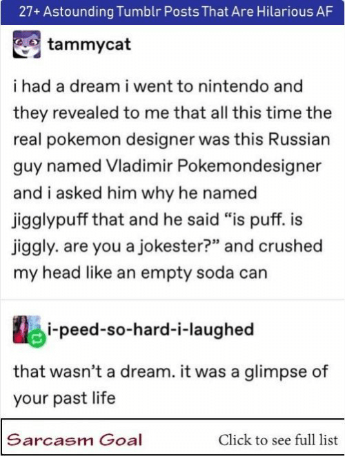 """A Dream, Af, and Click: 27+ Astounding Tumblr Posts That Are Hilarious AF  tammycat  ihad a dream i went to nintendo and  they revealed to me that all this time the  real pokemon designer was this Russian  guy named Vladimir Pokemondesigner  and i asked him why he named  jigglypuff that and he said """"is puff. i  jiggly. are you a jokester?"""" and crushed  my head like an empty soda can  i-peed-so-hard-i-laughed  that wasn't a dream. it was a glimpse of  your past life  Sarcasm Goal  Click to see full list"""