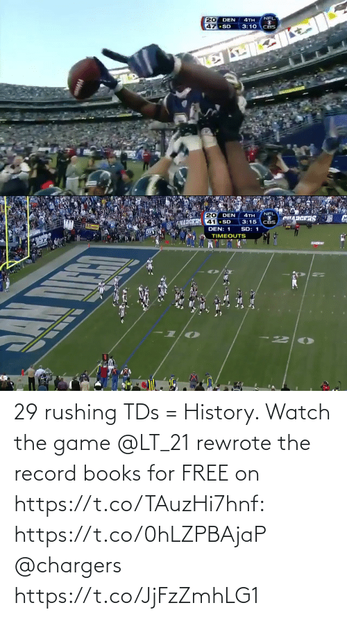 books: 29 rushing TDs = History.   Watch the game @LT_21 rewrote the record books for FREE on https://t.co/TAuzHi7hnf: https://t.co/0hLZPBAjaP @chargers https://t.co/JjFzZmhLG1