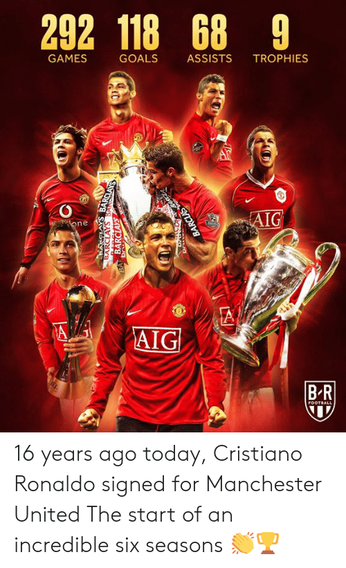 Manchester United: 292 118 68 9  GAMES  GOALS  ASSISTS  TROPHIES  AIG  one  A  AIG  BR  FOOTBALL  BARCLAYS BANSCLAYS  BARCLAYS  BA Dr  BARCLAS 16 years ago today, Cristiano Ronaldo signed for Manchester United  The start of an incredible six seasons 👏🏆