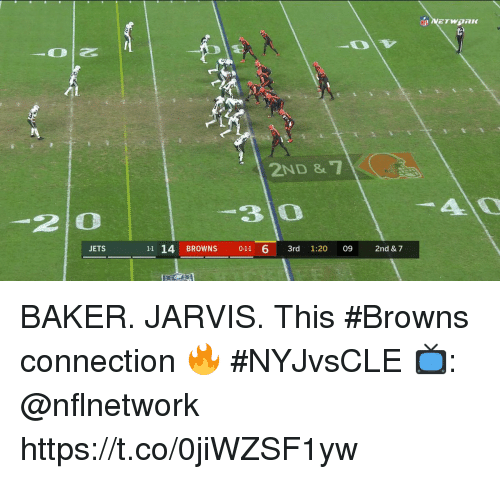 Memes, Browns, and Jets: 2ND &  2 0  3 0  JETS  11 14 BROWNS 0-11 6 3rd 1:20 09 2nd & 7 BAKER. JARVIS.  This #Browns connection 🔥 #NYJvsCLE  📺: @nflnetwork https://t.co/0jiWZSF1yw