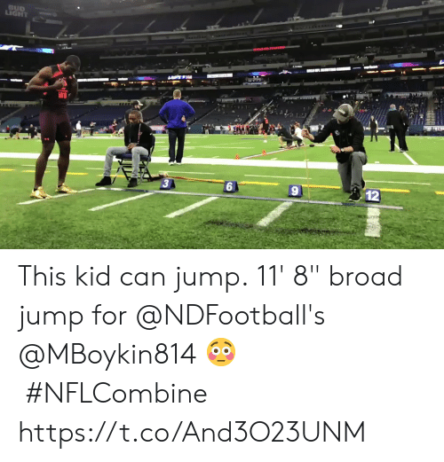 """Memes, 🤖, and Can: 3  12 This kid can jump.  11' 8"""" broad jump for @NDFootball's @MBoykin814 😳#NFLCombine https://t.co/And3O23UNM"""