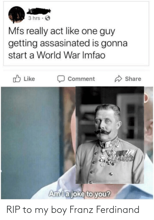 share: 3 hrs ·  Mfs really act like one guy  getting assasinated is gonna  start a World War Imfao  O Like  Share  Comment  Amlajoke to you? RIP to my boy Franz Ferdinand