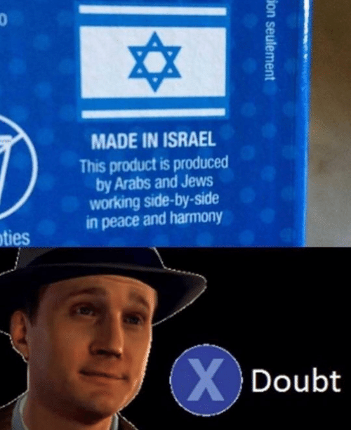 Israel, Doubt, and Peace: 3  MADE IN ISRAEL  This product is produced  by Arabs and Jews  working side-by-side  in peace and harmony  ties  Doubt
