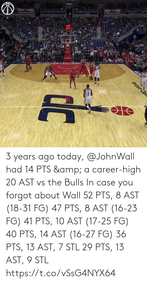 case: 3 years ago today, @JohnWall had 14 PTS & a career-high 20 AST vs the Bulls  In case you forgot about Wall 52 PTS, 8 AST (18-31 FG) 47 PTS, 8 AST (16-23 FG) 41 PTS, 10 AST (17-25 FG) 40 PTS, 14 AST (16-27 FG)  36 PTS, 13 AST, 7 STL 29 PTS, 13 AST, 9 STL   https://t.co/vSsG4NYX64