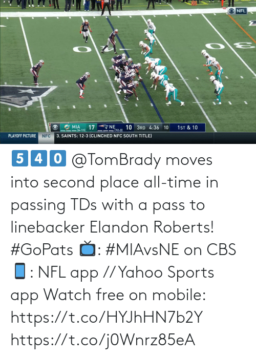 New Orleans Saints: 30  NFL  NE  (12-3)  17  10 3RD 4:36 10  1ST & 10  MIA  -14-11)  3. SAINTS: 12-3 (CLINCHED NFC SOUTH TITLE)  PLAYOFF PICTURE  NFC 5️⃣4️⃣0️⃣  @TomBrady moves into second place all-time in passing TDs with a pass to linebacker Elandon Roberts! #GoPats  📺: #MIAvsNE on CBS 📱: NFL app // Yahoo Sports app Watch free on mobile: https://t.co/HYJhHN7b2Y https://t.co/j0Wnrz85eA