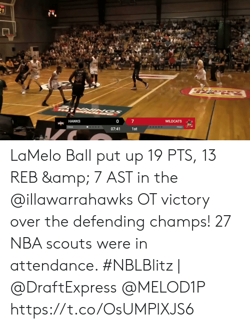 Memes, Nba, and Hawks: 31  21  7  WILDCATS  HAWKS  HAWKS  WILDCATS  FOULS  FOULS  07:41  1st LaMelo Ball put up 19 PTS, 13 REB & 7 AST in the @illawarrahawks OT victory over the defending champs!   27 NBA scouts were in attendance.   #NBLBlitz | @DraftExpress @MELOD1P   https://t.co/OsUMPlXJS6