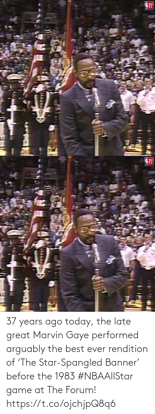 🤖: 37 years ago today, the late great Marvin Gaye performed arguably the best ever rendition of 'The Star-Spangled Banner' before the 1983 #NBAAllStar game at The Forum!    https://t.co/ojchjpQ8q6