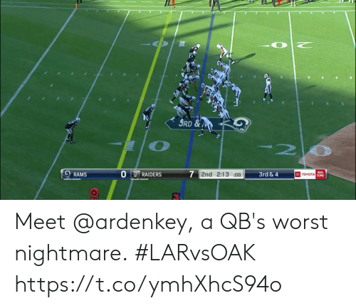 Memes, Toyota, and Raiders: 3RD&  3rd &4  7 2nd 2:13 :08  RED  TOYOTA ZONE  RAMS  RAIDERS Meet @ardenkey, a QB's worst nightmare.  #LARvsOAK https://t.co/ymhXhcS94o