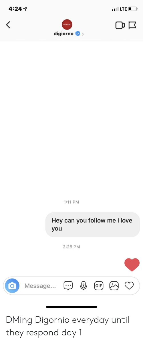 Gif, Love, and I Love You: 4:24 1  DIGIORNO  digiorno>  :11 PM  Hey can you follow me i love  you  2:25 PM  Message...-4 @  GIF DMing Digornio everyday until they respond day 1