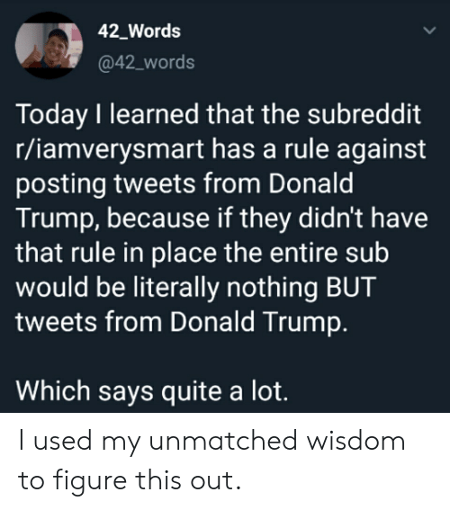 Donald Trump, Quite, and Today: 42 Words  @42_words  Today I learned that the subreddit  r/iamverysmart has a rule against  posting tweets from Donald  Trump, because if they didn't have  that rule in place the entire sub  would be literally nothing BUT  tweets from Donald Trump.  Which says quite a lot. I used my unmatched wisdom to figure this out.
