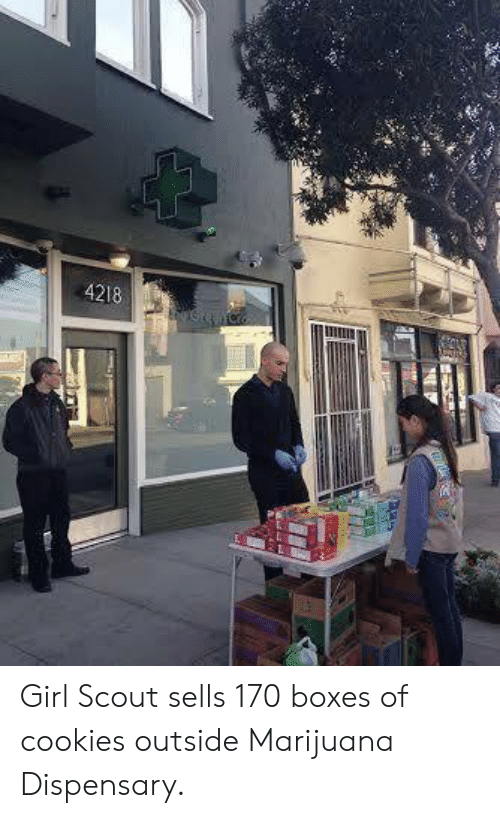 scout: 4218 Girl Scout sells 170 boxes of cookies outside Marijuana Dispensary.