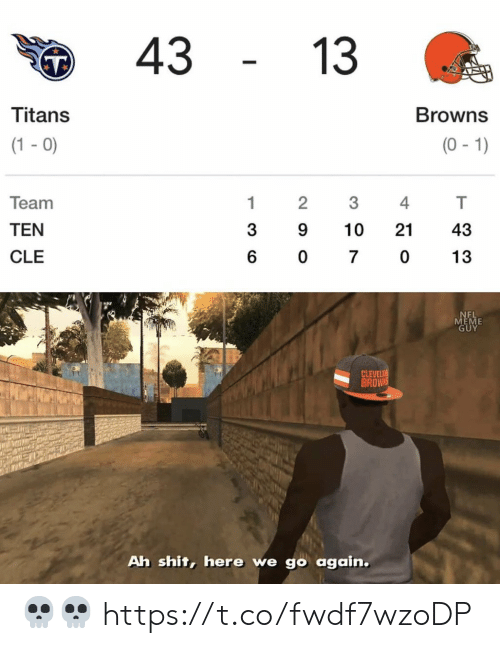 Football, Meme, and Nfl: 43  13  Titans  Browns  (1-0)  (0-1)  Team  1  2  4  TEN  3  9  10  21  43  CLE  6  0  7  0  13  NEL  MEME  GUY  CLEVELA  BROWNS  Ah shit, here we go again. 💀💀 https://t.co/fwdf7wzoDP