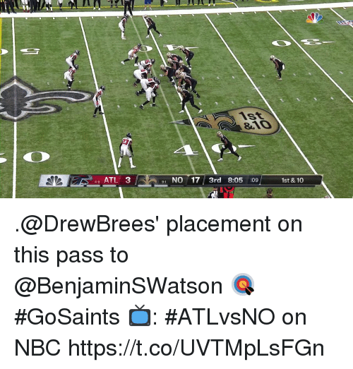 Memes, 🤖, and Nbc: 46 ATL 3  1 NO 17 3rd 8:05 :09  9-1  1st & 10 .@DrewBrees' placement on this pass to @BenjaminSWatson 🎯  #GoSaints  📺: #ATLvsNO on NBC https://t.co/UVTMpLsFGn