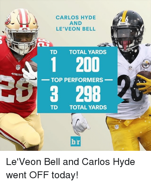 Sports, 49er, and Belle: 49ERS  CARLOS HYDE  AND  LE VEON BELL  TD TOTAL YARDS  1 200  TOP PERFORMERS  3 298  TD TOTAL YARDS  Ai Le'Veon Bell and Carlos Hyde went OFF today!
