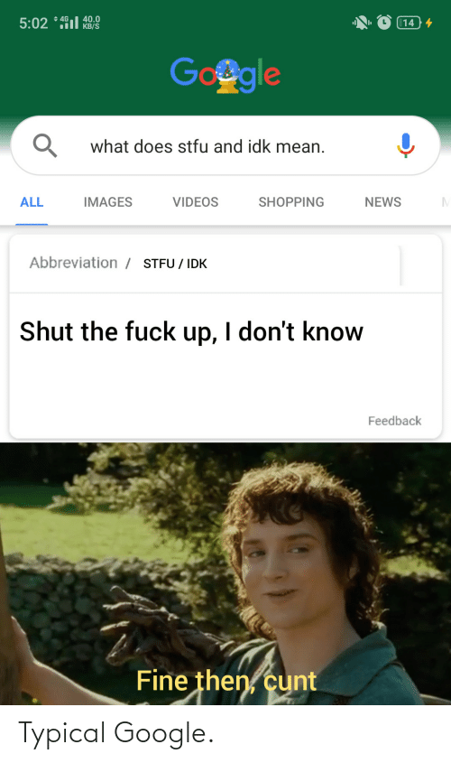 videos: + 4G  40.0  KB/S  5:02 * 491l  14 4  Google  what does stfu and idk mean.  ALL  IMAGES  VIDEOS  SHOPPING  NEWS  Abbreviation / STFU / IDK  Shut the fuck up, I don't know  Feedback  Fine then, cunt Typical Google.