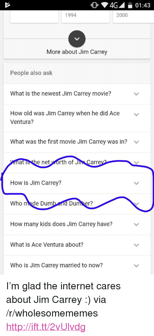 """Net Worth: 4G01:43  1994  2000  More about Jim Carrey  People also ask  What is the newest Jim Carrey movie?  How old was Jim Carrey when he did Ace  Ventura?  v  What was the first movie Jim Carrey was in?  at is the net worth of Ji  Carre  How is Jim Carrey?  Who made Dum  Dumber?  How many kids does Jim Carrey have?  What is Ace Ventura about?  Who is Jim Carrey married to now? <p>I&rsquo;m glad the internet cares about Jim Carrey :) via /r/wholesomememes <a href=""""http://ift.tt/2vUlvdg"""">http://ift.tt/2vUlvdg</a></p>"""