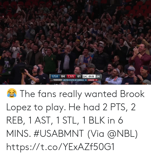 states of america: 4ST  ST  AcC  61 04 01:13 24  USA  84 CAN  REBOUNDS UNITED STATES OF AMERICA 51 CANADA 31 ? The fans really wanted Brook Lopez to play.   He had 2 PTS, 2 REB, 1 AST, 1 STL, 1 BLK in 6 MINS. #USABMNT  (Via @NBL)    https://t.co/YExAZf50G1