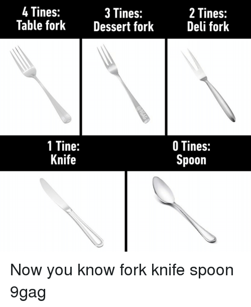 9gag, Memes, and 🤖: 4Tines:  Table forkDessert fork  3 Tines:  2 Tines:  Deli fork  1 Tine:  Knife  O Tines:  poon Now you know⠀ fork knife spoon 9gag