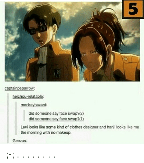 swaps: 5  5  captainpsparrow:  heichou-relatable:  monkeyhazard:  did someone say face swap?(2)  did someone say face swap?(1)  Levi looks like some kind of clothes designer and hanji looks like me  the morning with no makeup.  Geezus ;-; . . . . . . . .