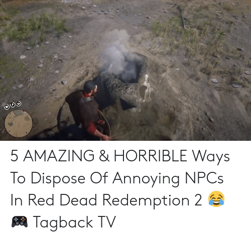 Memes, Amazing, and Red Dead Redemption: 5 AMAZING & HORRIBLE Ways To Dispose Of Annoying NPCs In Red Dead Redemption 2 😂  🎮 Tagback TV