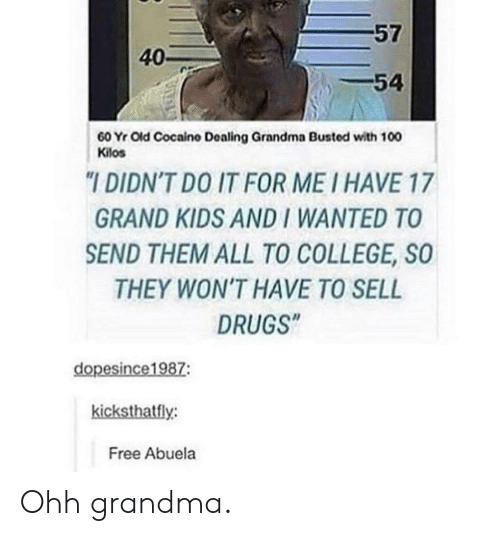 "College, Drugs, and Grandma: 57  40-  54  60 Yr Old Cocaino Dealing Grandma Busted with 100  Kilos  ""I DIDN'T DO IT FOR ME I HAVE 17  GRAND KIDS AND I WANTED TO  SEND THEM ALL TO COLLEGE, SO  THEY WON'T HAVE TO SELL  DRUGS""  dopesince1987:  kicksthatfly:  Free Abuela Ohh grandma."