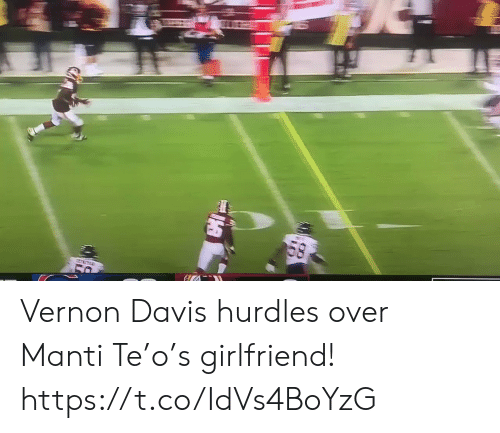 Football, Nfl, and Sports: 58 Vernon Davis hurdles over Manti Te'o's girlfriend!  https://t.co/IdVs4BoYzG