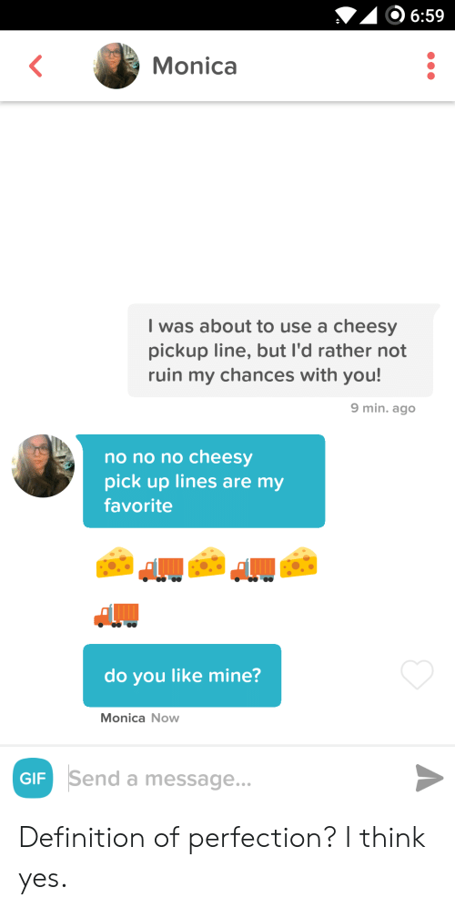 Definition: 6:59  Monica  I was about to use a cheesy  pickup line, but I'd rather not  ruin my chances with you!  9 min. ago  no no no cheesy  pick up lines are my  favorite  do you like mine?  Monica Now  Send a message...  GIF Definition of perfection? I think yes.