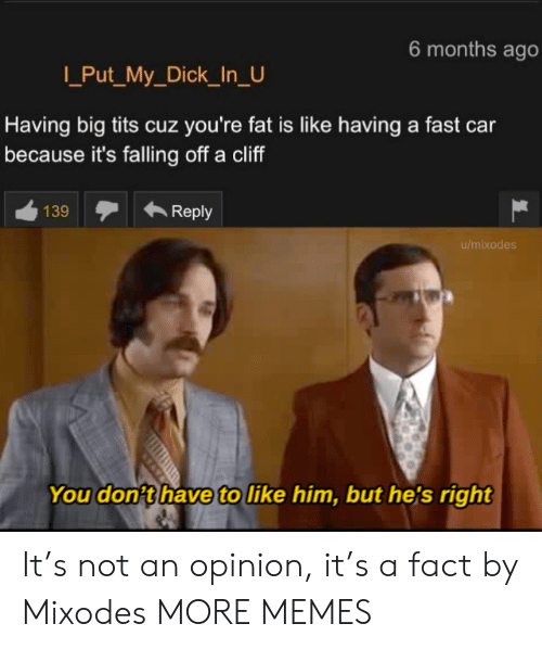 falling: 6 months ago  Put_My_Dick_In_U  Having big tits cuz you're fat is like having a fast car  because it's falling off a cliff  139  Reply  u/mixodes  You don't have to like him, but he's right It's not an opinion, it's a fact by Mixodes MORE MEMES
