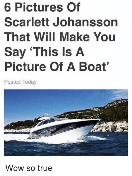 Memes, Scarlett Johansson, and True: 6 Pictures Of  Scarlett Johansson  That Will Make You  Say This Is A  Picture Of A Boat  Posted Today Wow so true